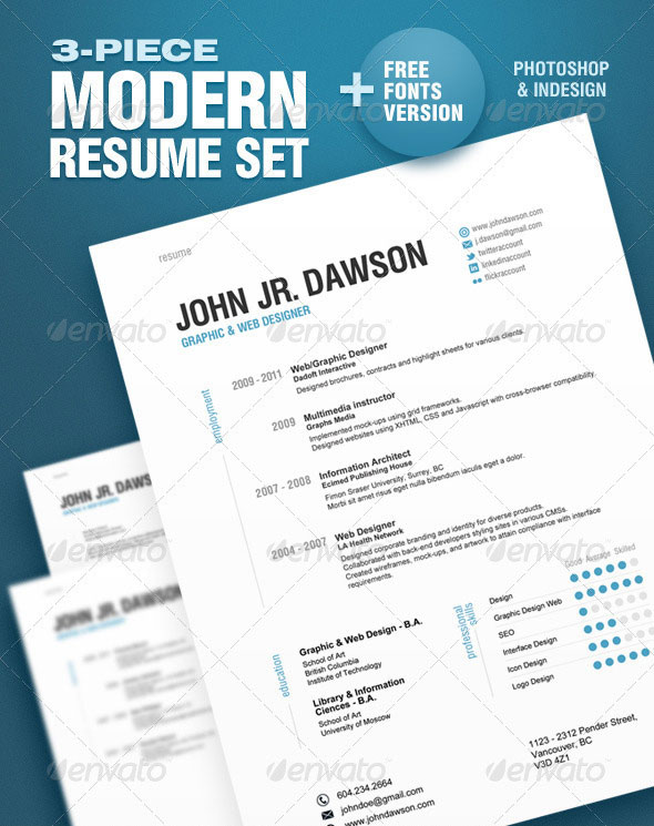 3 piece modern resume set - Contemporary Resume Templates Free