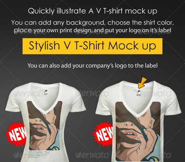V T-Shirt Mock-up Men & Women