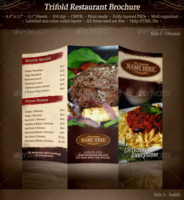 14 creative 3 fold photoshop indesign brochure templates for Restaurant brochure template