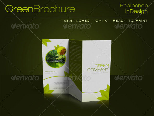 Green Trifold Brochure InDesign Template