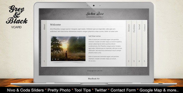 Grey & Black - Stylish Online vCard Html Template