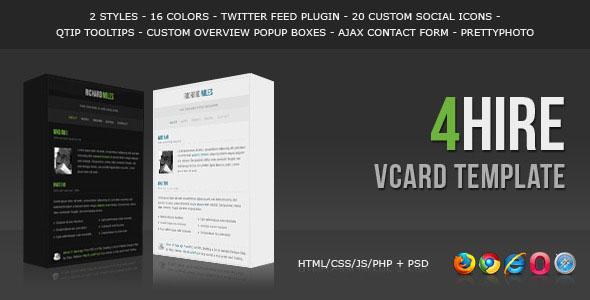 4HIRE - Elegant vCard Template
