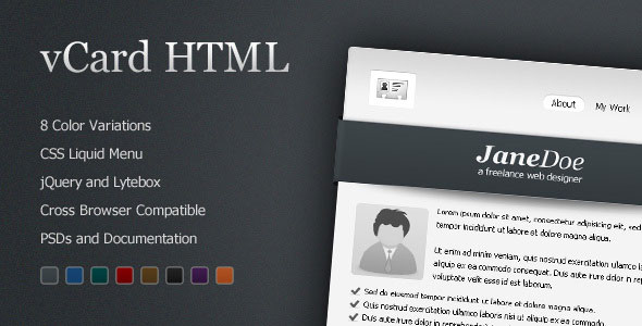 vCard Professional Template - 8 Color
