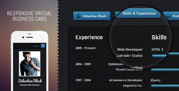 Dark UI - Responsive Virtual Business Card
