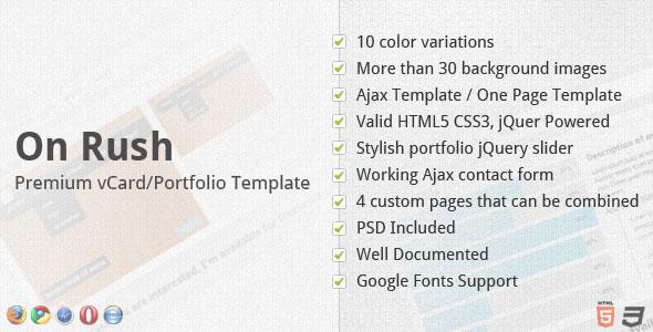 On Rush - Premium vCard/Portfolio Template