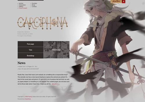 Carciphona website layout