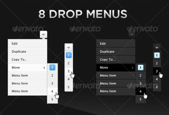 Web UI Elements | 8 Drop Menus