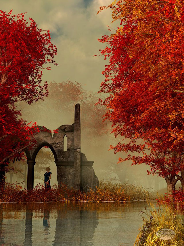 Ruins in Autumn Fog