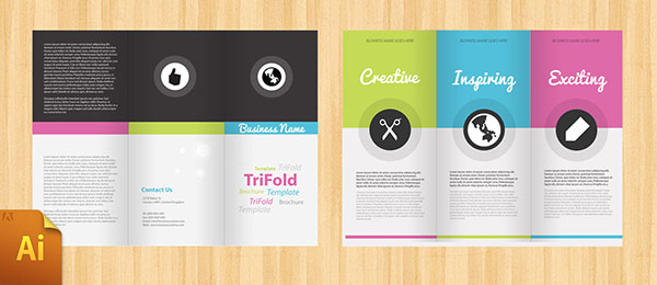 Free PSD InDesign AI Brochure Templates Web Graphic Design - Quad fold brochure template