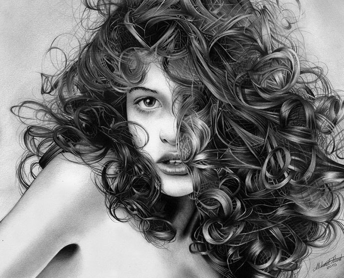 Playful curls     Pencil drawing by RegiusUnique Drawings In Pencil