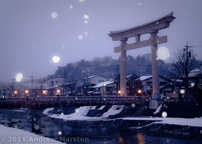 Takayama Snowfall at Dusk