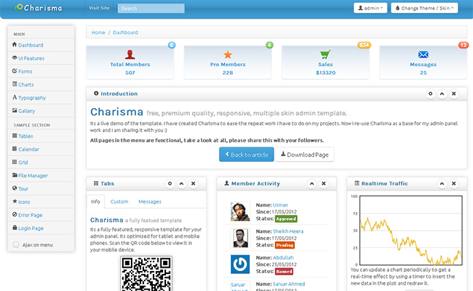Charisma – free, responsive, multiple skin admin template