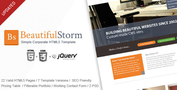 BeautifulStorm - Simple Corporate HTML5 Template