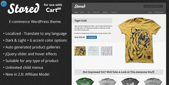 Stored  Ecommerce WordPress Theme for Cart66