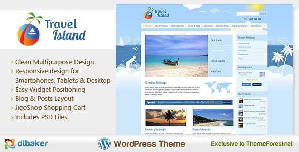 Travel Island  Responsive eCommerce WordPress
