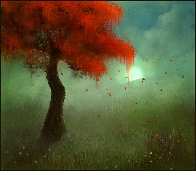 Sketchpaint Crimson Tree