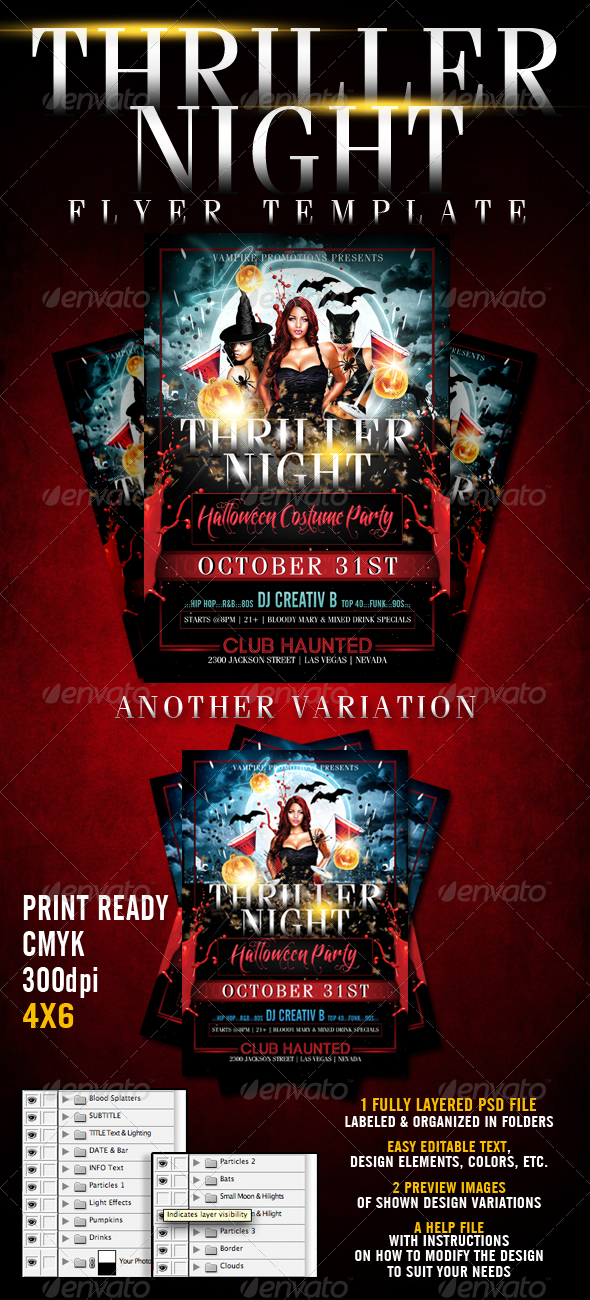 Thriller Night Halloween Flyer Template