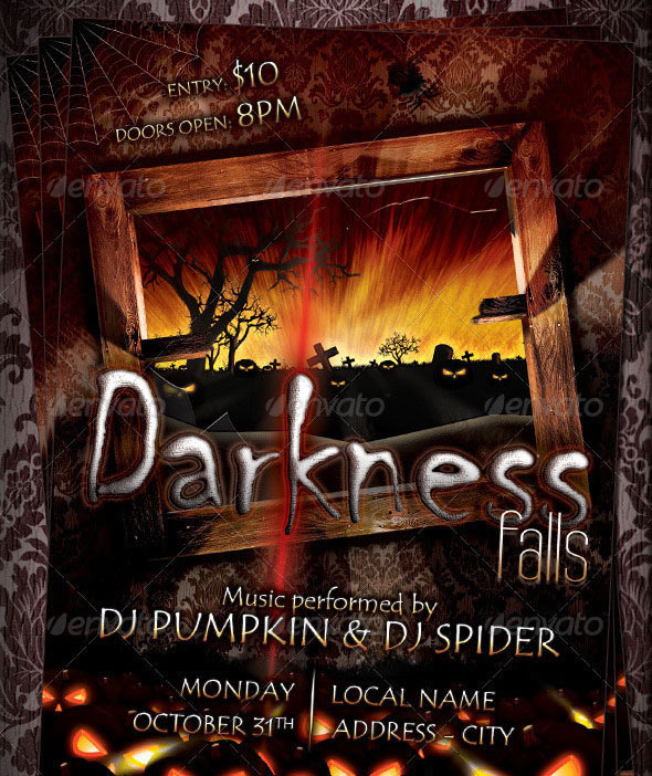 Darkness Falls Halloween Flyer Template