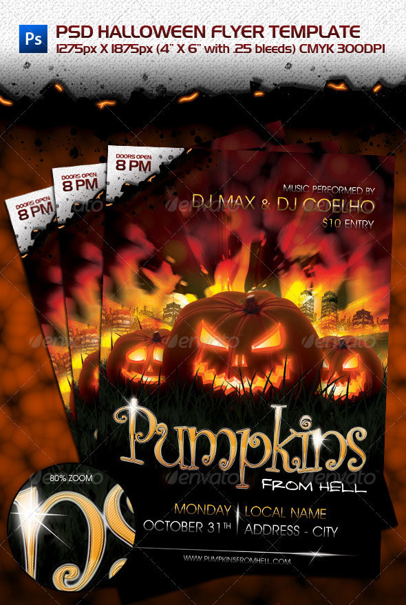 23 wicked halloween psd flyer templates