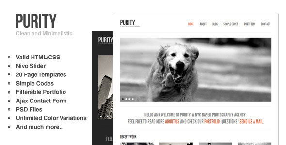 Purity: Clean, Minimal & Bold Website Template