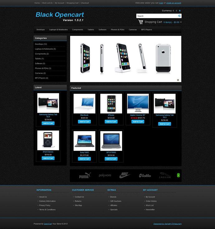 Black Opencart Template