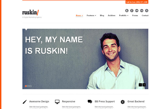 Ruskin responsive WordPress Theme