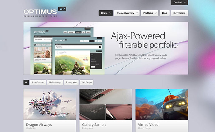 Optimus - responsive WordPress portfolio Theme