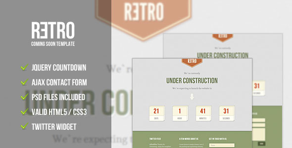 Retro - Under Construction/Coming Soon Template
