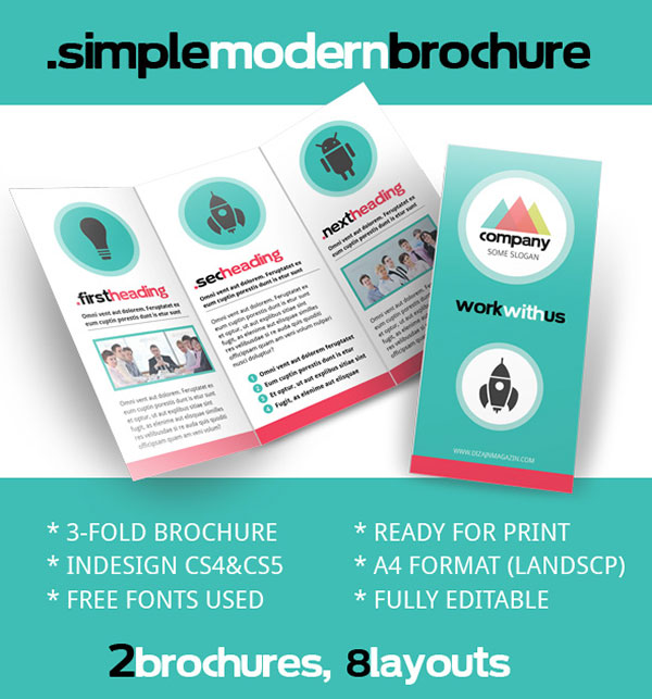 Free PSD InDesign AI Brochure Templates Web Graphic Design - Simple brochure templates