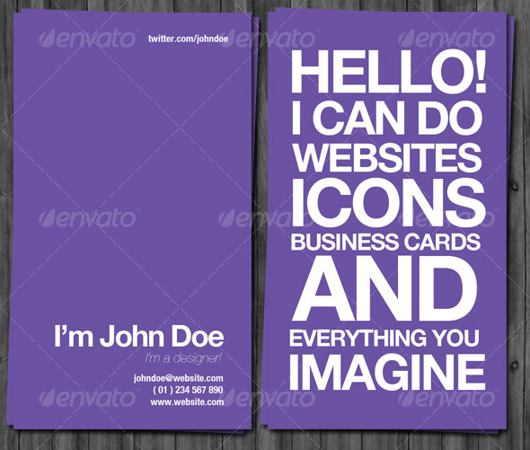 Graphic Designer Business Cards Typography Designer Business Cards