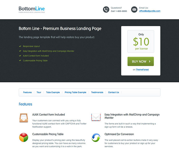 Bottom Line - Premium Business Landing Page