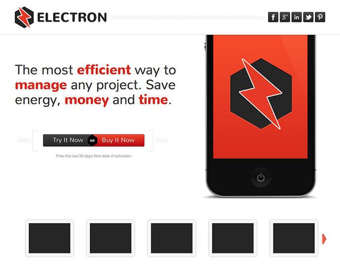 Electron - Responsive Landing Page