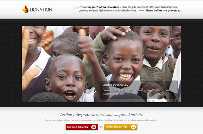 Donation landing page template - responsive