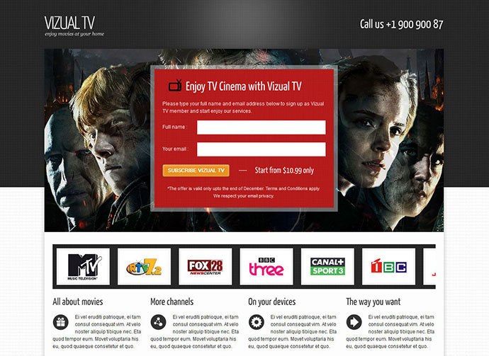 Vizual-tv TV Film movies landing page