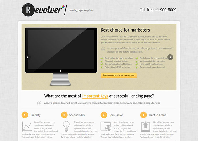 Revolver premium landing page template