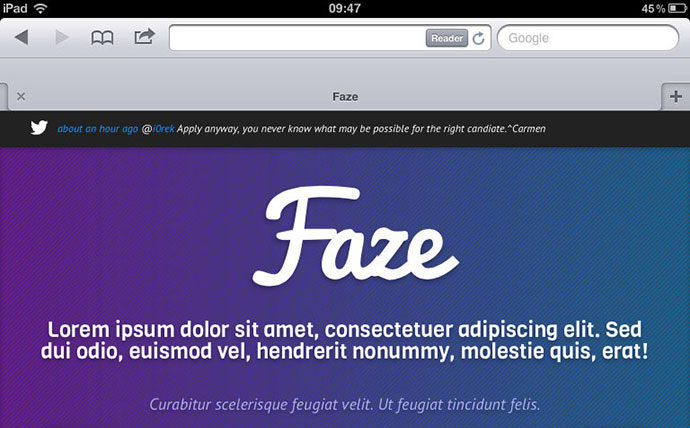 Faze - Responsive Landing Page