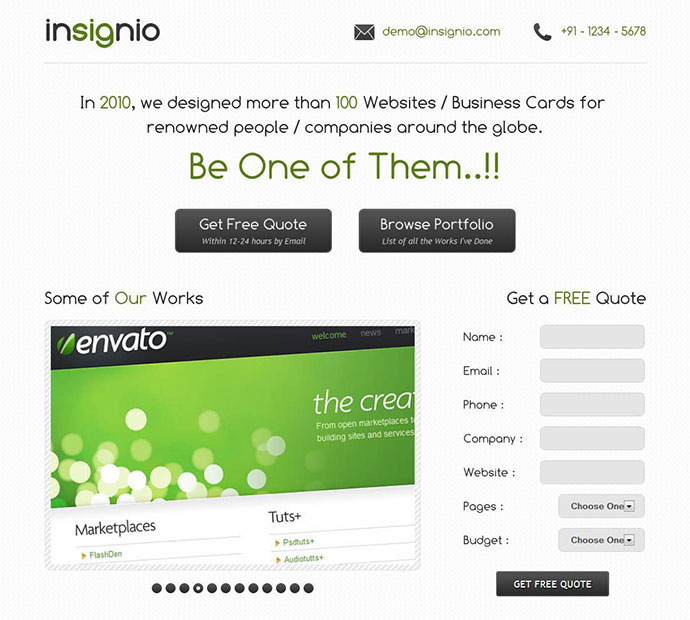 Insignio - A MultiPurpose Landing Page