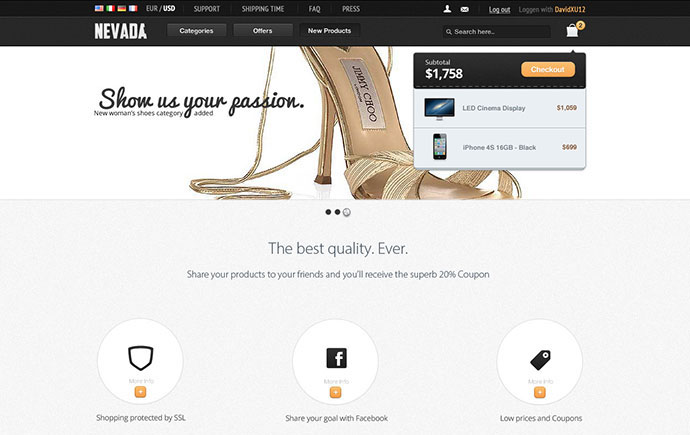Nevada Fashion Ecommerce Psd