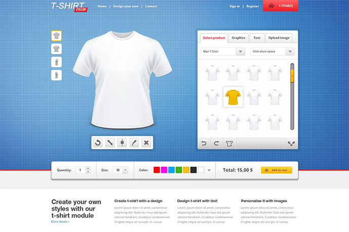 T Shirt Designer Creator and Shop Module