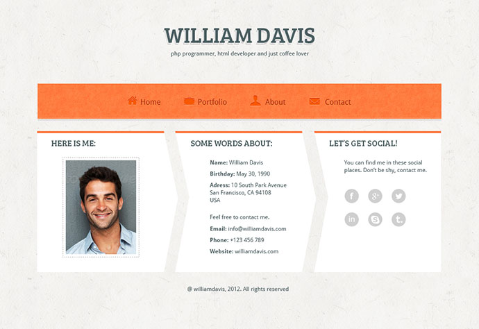 William Davis vCard - PSD Template