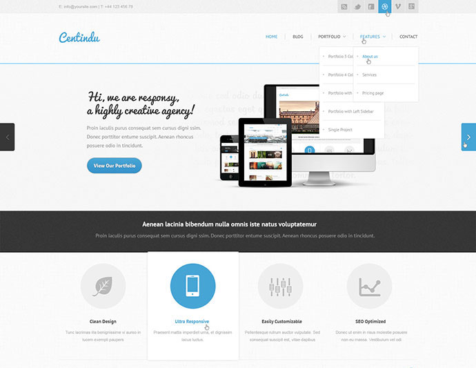 Centindu - clean and modern PSD template