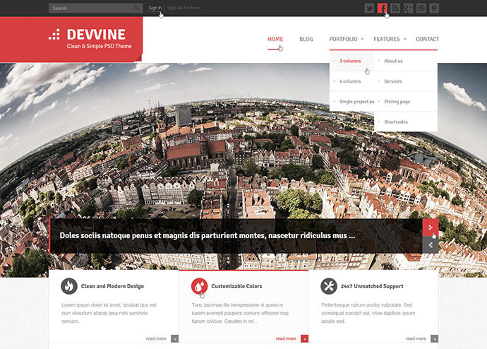 Devvine - Modern and Clean PSD Theme