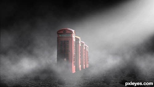 Surreal Atmospheric Phone Booth Scenery
