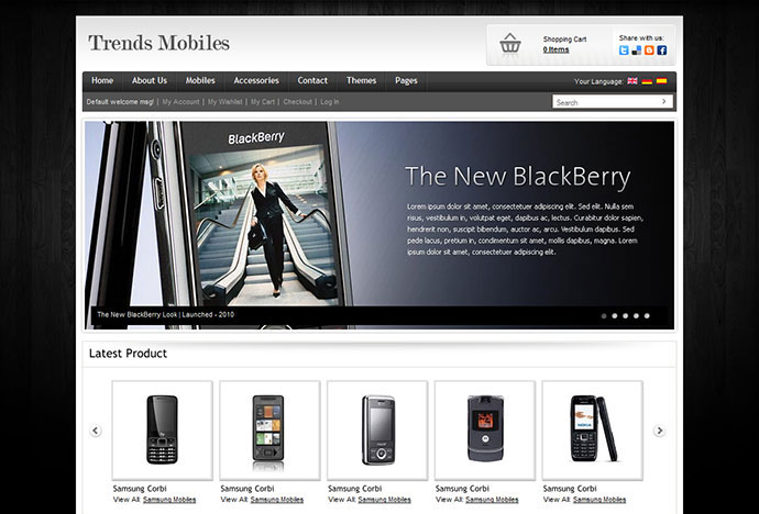 Trendy mobile e commerce shop