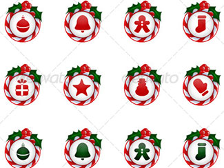 Buttons with Candy Cane Holly