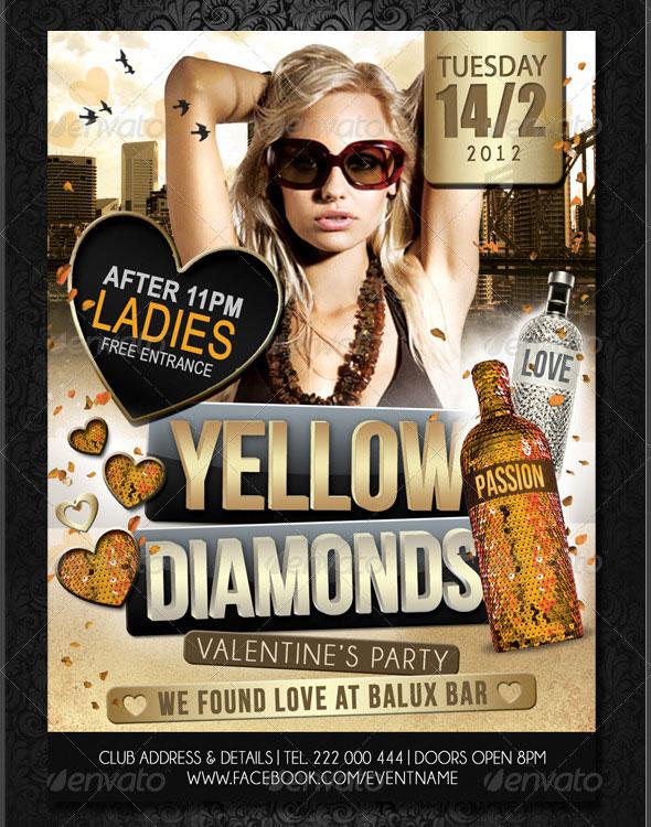 Yellow Diamonds Valentine Flyer