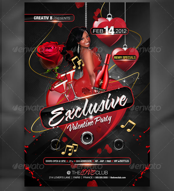 Exclusive Valentine Party Flyer Template