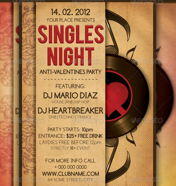 Singles Valentines Party Flyer Template