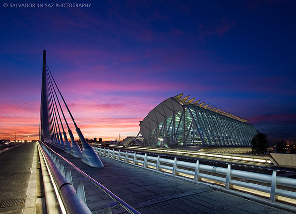 The new Calatrava's bridge and the Science Museum: Blue and Magenta series