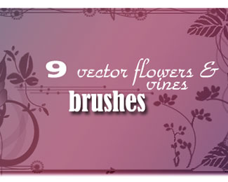 Vector Flowers_vines Brushes